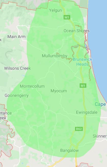 Map of our Byron Shire Delivery area
