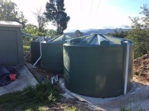 green round poly rainwater tanks